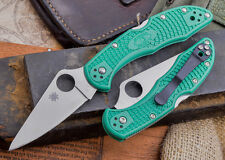 Couteau Spyderco Delica Flat Ground Green Acier VG-10 Manche FRN Japan SC11FPGR