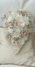 IVORY CREAM CHAMPAGNE FABRIC ROSES SMALL TEARDROP BRIDES BOUQUET WEDDING FLOWERS
