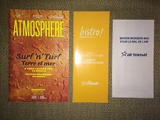 Air Transat Airline Bistro Inflight Menu, Atmosphere Magazine & Airsick Bag