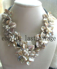 "freshwater pearl sea shell flower champange 18.5"" necklace nature wholesale bead"