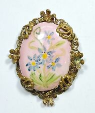 Vintage Hand Painted Porcelain Flowers and Filigree Brooch Pin JN16965