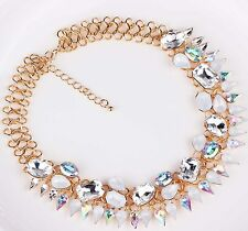 Fashion pendant Crystal Statement White Glass Chain Gold Filled  Necklaces 1212