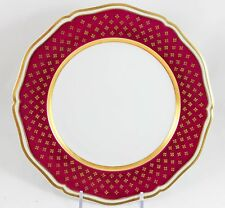 CERALENE RAYNAUD LIMOGES CHINA CARDINAL LUNCHEON PLATE(S) ARGENT GOLD MAROON RED