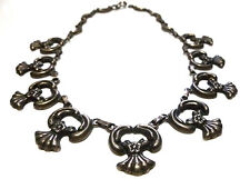 """ANTIQUE OLD MEXICAN MEXICO SILVER STERLING FLOWER MOON LINK NECKLACE 16.5"""""""