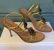 £485 NIB MIU MIU GOLD LEATHER STRAPPY JEWELLED SANDALS HEELS SHOES 38.5