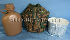 3 Pc 1 QUART CANTEEN KIT w/ 1QT Woodland Digital Camo COVER & ALUMINUM CUP NEW
