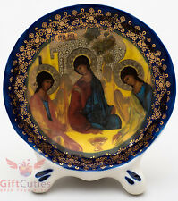 Porcelain gzhel decal plaque Icon Holy Trinity consecrated Святая Троица