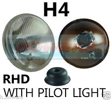 "7"" FLAT LENS CLASSIC CAR SEALED BEAM HEADLAMP HEADLIGHT HALOGEN H4 CONVERSION"