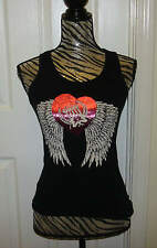 Girls Kids Silver Star Angel Black Pink Tank Top Motocross Racing Size M Med