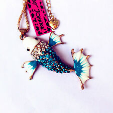 A550L  Betsey Johnson Crystal Enamel Carp Fish Pendant Long Chain Necklace
