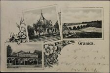 RUSSIA - POLAND 1907 PC Postcard Granica Petrok - Andelfingen CH Bridge Flower