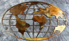 Metal Art World Map copper and bronze plated metal wall art decor