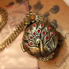 New Vintage Bronze Carved Peacock Crystal Pendant Long Chain Sweater Necklace