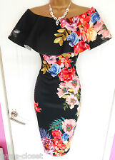 Black Floral Wiggle Cocktail Wedding Races Party Dress Size 10 12 BNWT