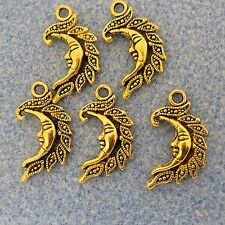 10 pcs Antique Gold Finish Metal Moon Charms 14.7mm x 26mm #0180