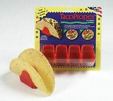 Taco Proper Hard Shell Taco Holders set of 4 red  NEW serving stand MADE IN USA
