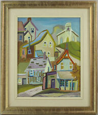 Canadian Vintage Original Oil on Panel Streetscape Quebec Illegibly Signed