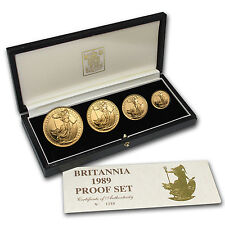 1989 4-Coin Gold Britannia Proof Set (w/Box & COA) - SKU #22124