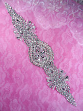 DH41 Pearl Applique Crystal Clear Silver Beaded Rhinestone Patch 13""