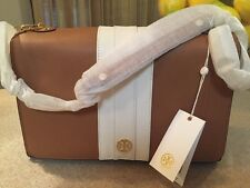TORY BURCH ROBINSON STRIPED E/W SHOULDER BAG  BARK WHITE LEATHER DUST BAG