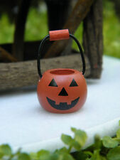 "Miniature Dollhouse FAIRY GARDEN TINY 1"" Halloween Jack OLantern Pumpkin Basket"