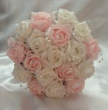 ARTIFICIAL FLOWERS PINK WHITE FOAM ROSE WEDDING BRIDESMAID BOUQUET POSIE