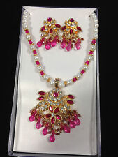 Pink & White Pearl Costume Jewelry Crystal Set - Necklace & Earrings