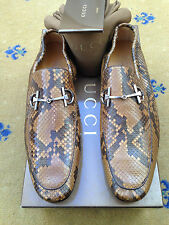 New Gucci Mens Shoes Brown Leather Snakeskin Horsebit Loafers UK 7 US 8 EU 41