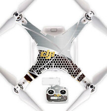Ultradecal DJI Phantom 3 Standard Body Decal Skin Wrap Vinyl Silver Honeycomb
