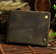 Men Genuine Leather Bifold Brown Card Cash Holder Case Snap Wallet Purse Hipster