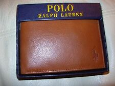 POLO RALPH LAUREN LOGO MENS BIFOLD TAN GRAINY LEATHER PASSCASE WALLET $85 NIB