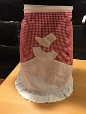 VINTAGE RED AND WHITE GINGHAM CHECK SOUTHERN BELLE HALF APRON WITH RUFFLE