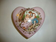 Beautiful Vintage Hand Painted Porcelain Napcoware Trinket Box Jewelry Box