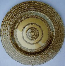 BBJ Linen 13'' Gold Lasso Glass Charger Plate