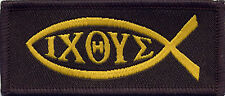 Ichthus Ichthys Badge Patch Jesus Fish Christian 7cm x 3cm Black and Gold