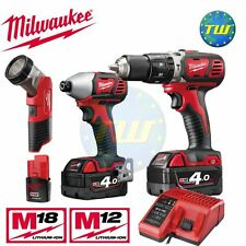 Milwaukee 18V Twin Pack Compact Percussion Drill Impact Driver & 12V LED Torch