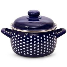 Enamelware Pot Blue color White Polka dot Made in Serbia 3 L