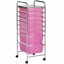 Equipment Rolling Trolley Storage 8 Drawer Pink Tray Cart Station Beauty Salon