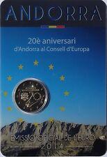 """2 Euro Gedenkmünze Andorra 2014 """"20 Jahre Europarat"""" ST Coincard"""