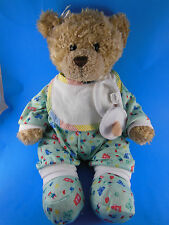 "Build a Bear Teddy Bear 15"" In Pajamas With Pacifier Bib & Booties"