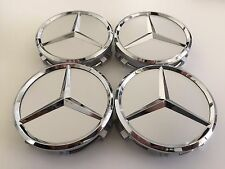 4 PCS 75mm / 3 INCH SILVER WHEEL BADGE CENTER CAPS FOR MERCEDES BENZ C E CLS S
