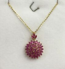 14k Solid Yellow Gold Flat Rolo Chain With Cluster Round Natural Ruby Pendant.