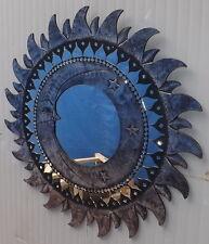 Specchio sole luna argento diametro cm 60 con mosaico di vetro