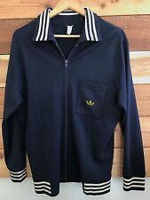 VTG 60s 70s Germany ADIDAS Wool Blend Navy Blue Track Jacket Trefoil Patch *RARE