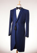 NWT $2995 OZWALD BOATENG Royal Blue Jacquard Frock Coat Tuxedo Slim 46 R Suit