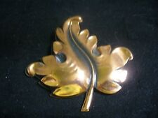 Vintage Solid Copper Leaf Brooch Pin