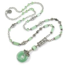 NEW SWEET ROMANCE ART DECO AMAZONITE MINT & CRYSTAL NECKLACE ~~MADE IN USA~~