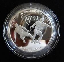 1990 SILVER PROOF BHUTAN 300 NGULTRUMS COIN + COA FOOTBALL WORLD CUP ITALY 1990