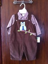 NWT ZU By Petit Ami 6M Boys Fall Brown Gingham Owl Applique Corduroy Overalls