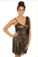BNWT Lipsy Gold/Black One Shoulder Rouched Drape Skirt Party Dress Size 6